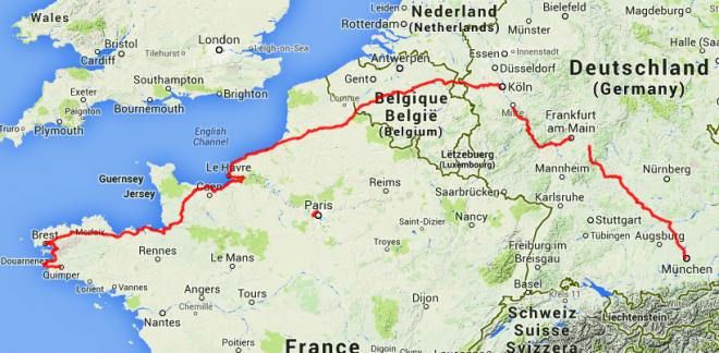 Strecke München - Brest